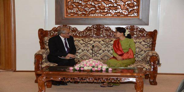 Daw Aung San Suu Kyi met with Mr. Vijay Nambiar,