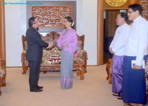နိုင်ငံတော်၏ အတိုင်ပင်ခံပုဂ္ဂိုလ်က မြန်မာနိုင်ငံဆိုင်ရာ ပီရူးသံအမတ်ကြီးအား လက်ခံတွေ့ဆုံ