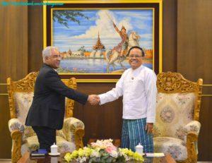 အပြည်ပြည်ဆိုင်ရာ ပူးပေါင်းဆောင်ရွက်ရေးဝန်ကြီးဌာန ပြည်ထောင်စုဝန်ကြီးက မြန်မာနိုင်ငံဆိုင်ရာ ဘာရိန်းသံအမတ်ကြီးအား လက်ခံတွေ့ဆုံခြင်း