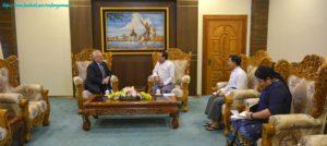 အပြည်ပြည်ဆိုင်ရာ ပူးပေါင်းဆောင်ရွက်ရေးဝန်ကြီးဌာန ပြည်ထောင်စုဝန်ကြီးက United Nations World Food Programme ၏ Resident Representative နှင့် Country Director အား လက်ခံတွေ့ဆုံ
