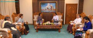 Union Minister U Kyaw Tin receives United Nations Secretary-General's Special Envoy on Myanmar