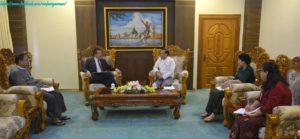 အပြည်ပြည်ဆိုင်ရာ ပူးပေါင်းဆောင်ရွက်ရေးဝန်ကြီးဌာန၊ ပြည်ထောင်စုဝန်ကြီး ဦးကျော်တင်မှ International Committee of the Red Cross (ICRC) ၏ မြန်မာနိုင်ငံဆိုင်ရာ ဌာနေကိုယ်စားလှယ် Mr. Stephan Sakalian အား လက်ခံတွေ့ဆုံခဲ့ခြင်း