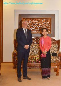 State Counsellor Daw Aung San Suu Kyi receives Mr. Ola Almgren, UN Resident Coordinator for Myanmar