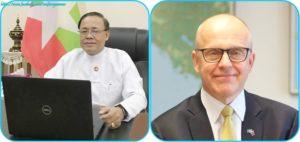 အပြည်ပြည်ဆိုင်ရာ ပူးပေါင်းဆောင်ရွက်ရေးဝန်ကြီးဌာန ပြည်ထောင်စုဝန်ကြီး ဦးကျော်တင်နှင့် ပြည်ထောင်စုသမ္မတမြန်မာနိုင်ငံတော်ဆိုင်ရာ ဆွီဒင်နိုင်ငံ သံအမတ်ကြီး H.E. Mr. Staffan Herrström တို့ တယ်လီကွန်ဖရင့်ဖြင့် တွေ့ဆုံဆွေးနွေး